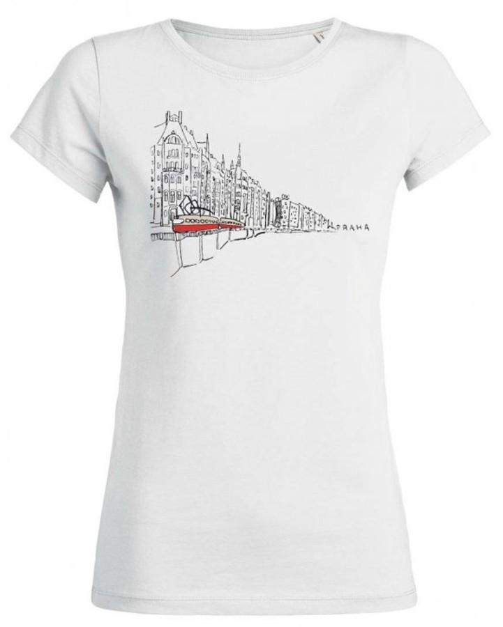 Bílé dámské triko s kreslenou tramvají T3 a nábřežím