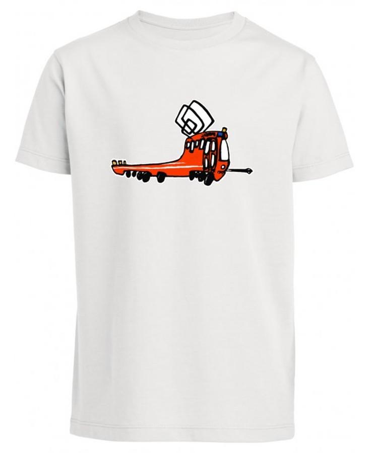 Bílé pánské triko s kreslenou mazací tramvají