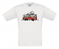 Bílé dětské triko s tramvají se zvířátky