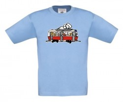 Modré dětské triko s tramvají se zvířátky