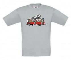 Šedé dětské triko s tramvají se zvířátky