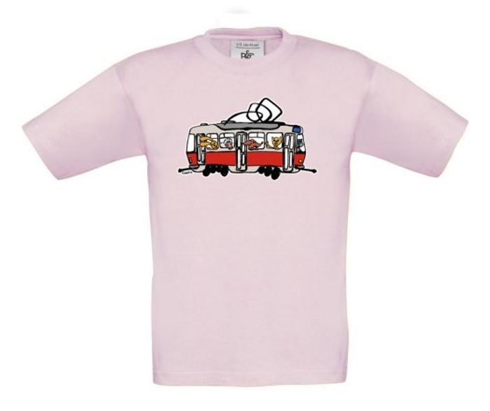 Růžové dětské triko s tramvají se zvířátky