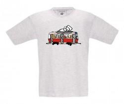 Šedé melírované dětské triko s tramvají se zvířátky