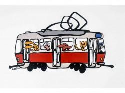 Pohlednice s motivem dětské tramvaje se zvířátky