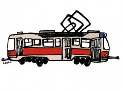 Pohlednice s kreslenou tramvají T3