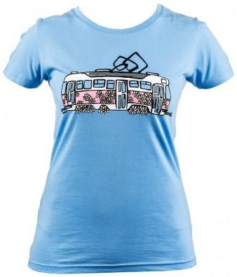Modré dámské triko s kopretinovou tramvají T3
