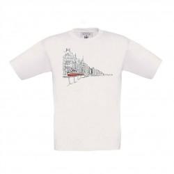 Bílé dětské triko s kreslenou tramvají T3 a nábřežím
