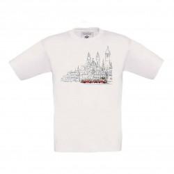 Bílé dětské triko s kreslenou tramvají T3 a Staroměstským náměstím