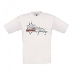 Bílé dětské triko s kreslenou tramvají T3 a Hradčany