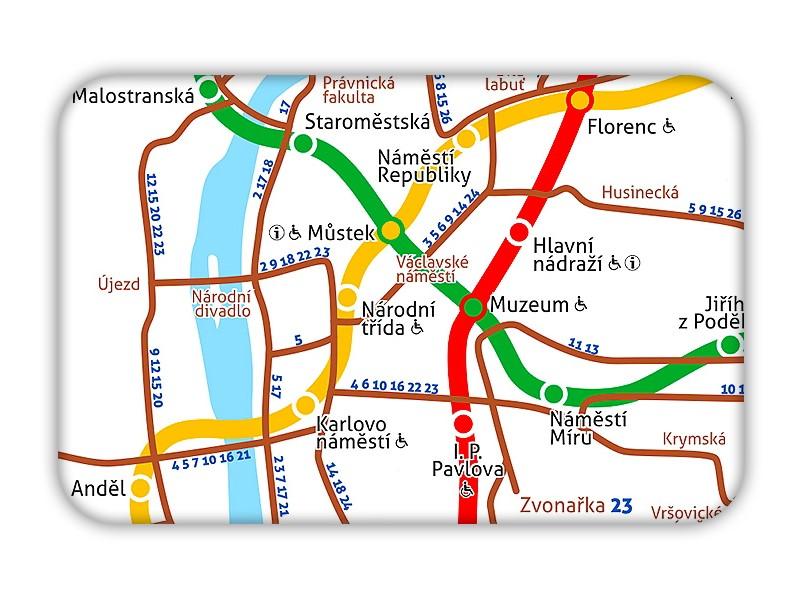 Magnetka se schématem pražské MHD