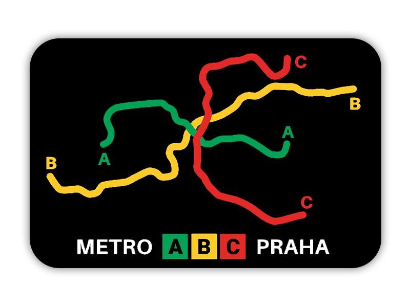 Magnetka s motivem linek pražského metra