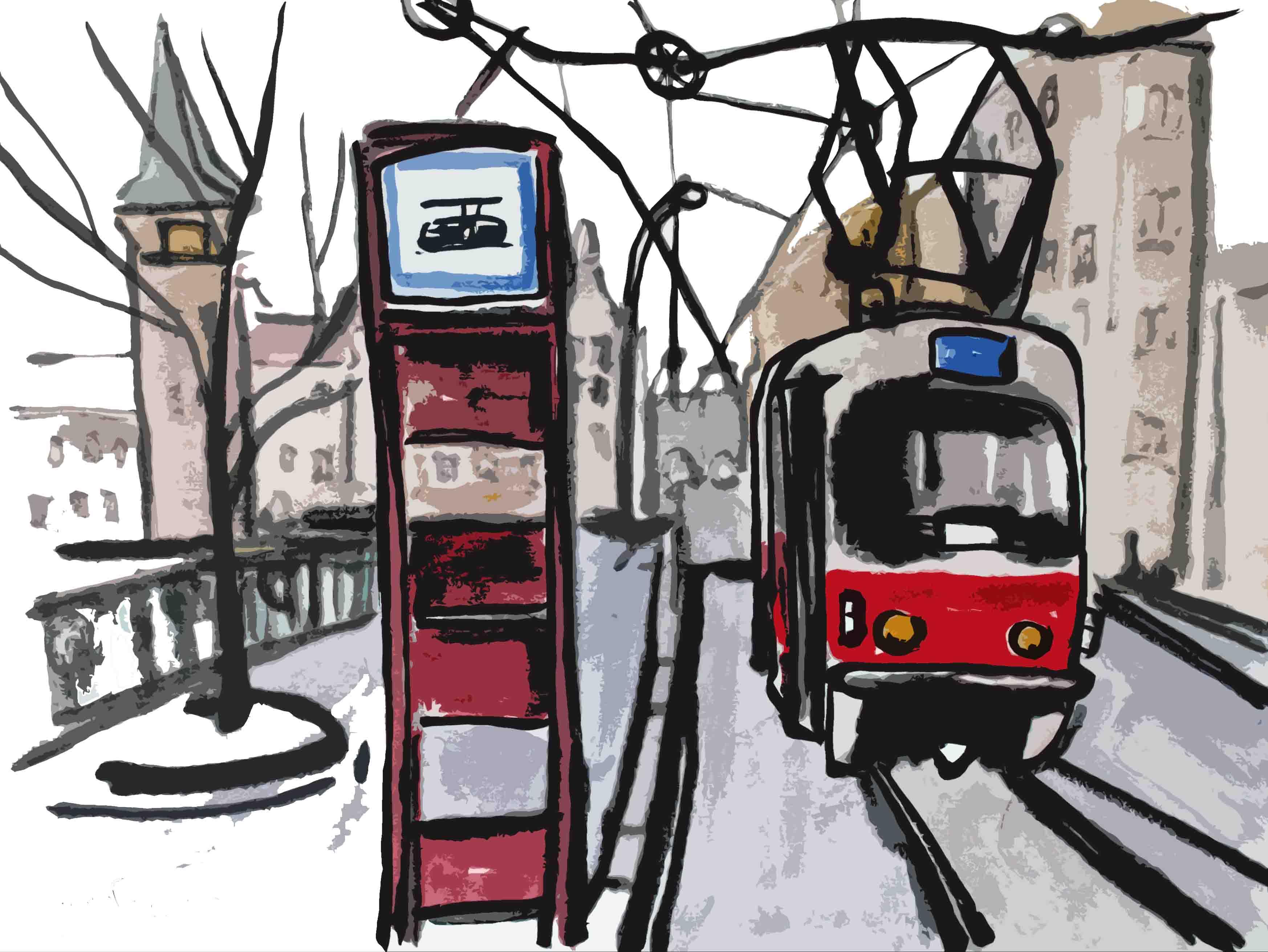 Pohlednice s motivem tramvaje u Karlových lázní