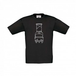 Černé dětské svítící triko s tramvají