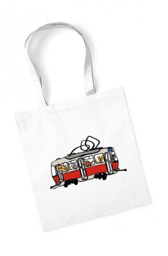 Bavlněná taška s dětskou tramvají se zvířátky