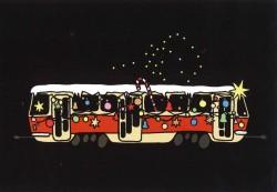 Pohlednice s vánoční tramvají T3