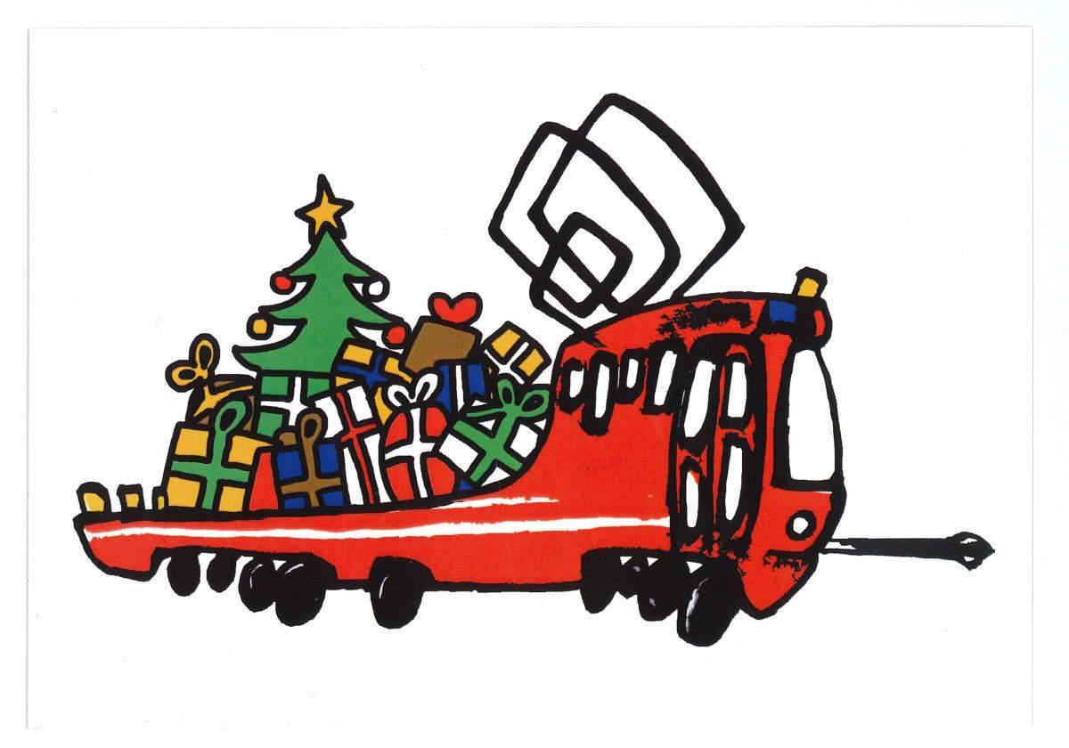 Pohlednice s vánoční tramvají Mazačka
