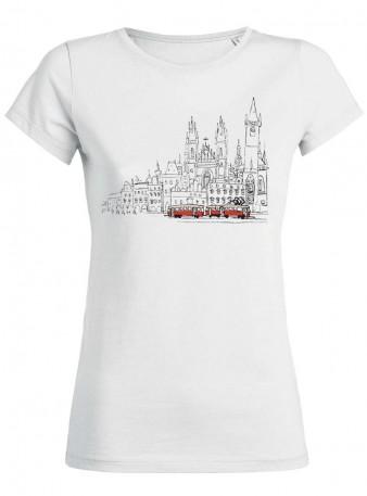 Bílé dámské triko s kreslenou tramvají T3 a Staroměstským náměstím