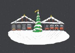 Pohlednice s motivem vánoční vozovny (s noční oblohou)