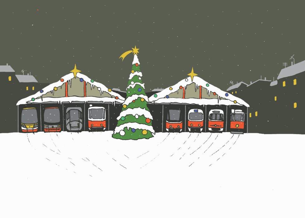 Pohlednice s motivem vánoční vozovny (s městem v pozadí)