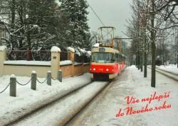 Pohlednice vše nejlepší do nového roku (tramvaj č. 22 v ulici Mariánské hradby)