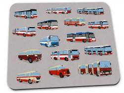 Šedá podložka pod myš s pražskými autobusy