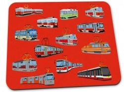 Červená podložka pod myš s pražskými tramvajemi