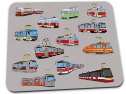 Šedá podložka pod myš s pražskými tramvajemi