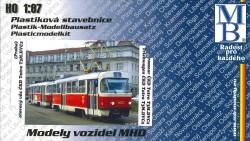 Stavebnice modelu tramvaje ČKD Tatra T3 (linka 3, H0)