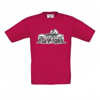 Malinové dětské triko s kopretinovou tramvají