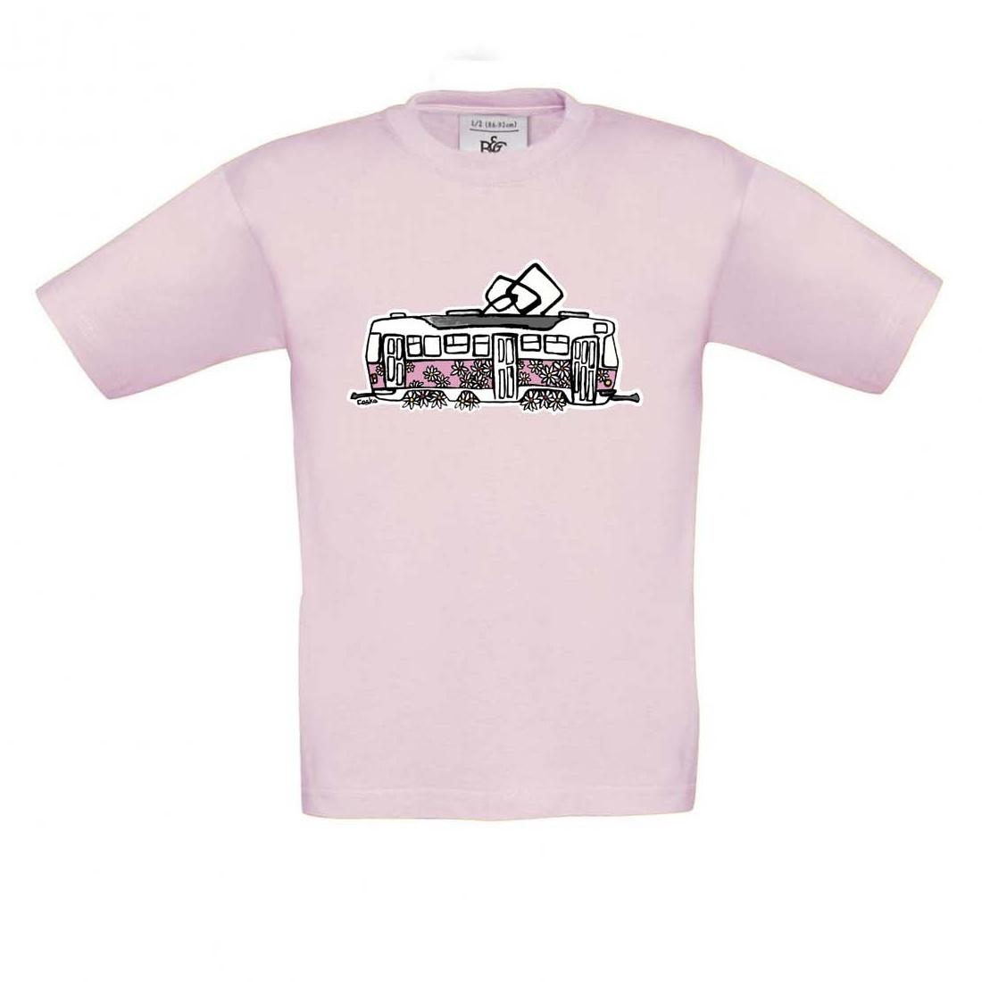 Světle růžové dětské triko s kopretinovou tramvají