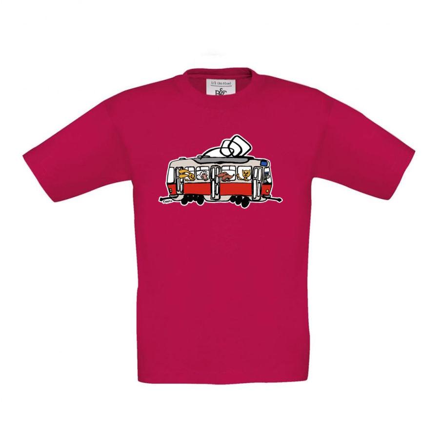 Malinové dětské triko s tramvají se zvířátky