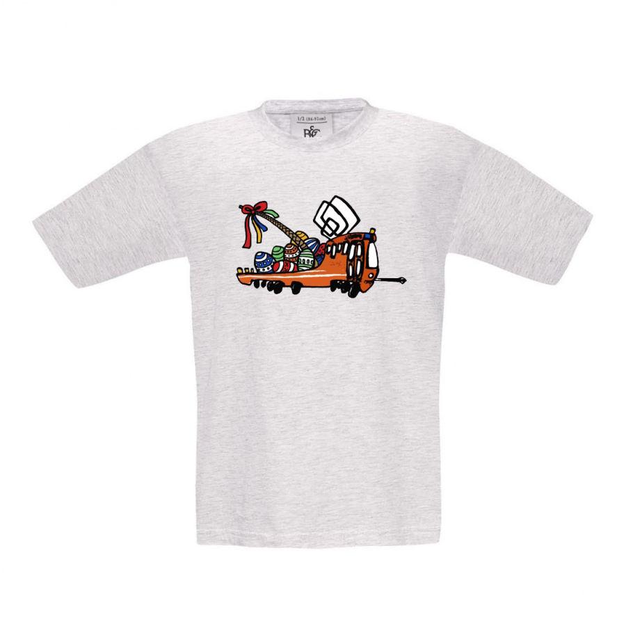 Šedé melírované dětské triko s velikonoční Mazačkou