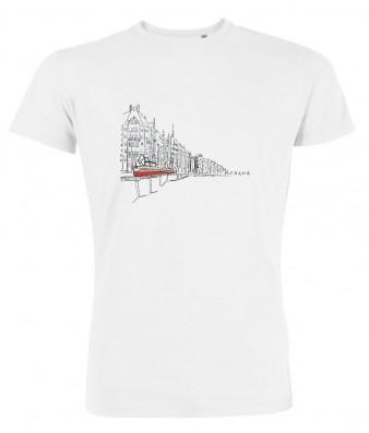Bílé pánské triko s kreslenou tramvají T3 a nábřežím