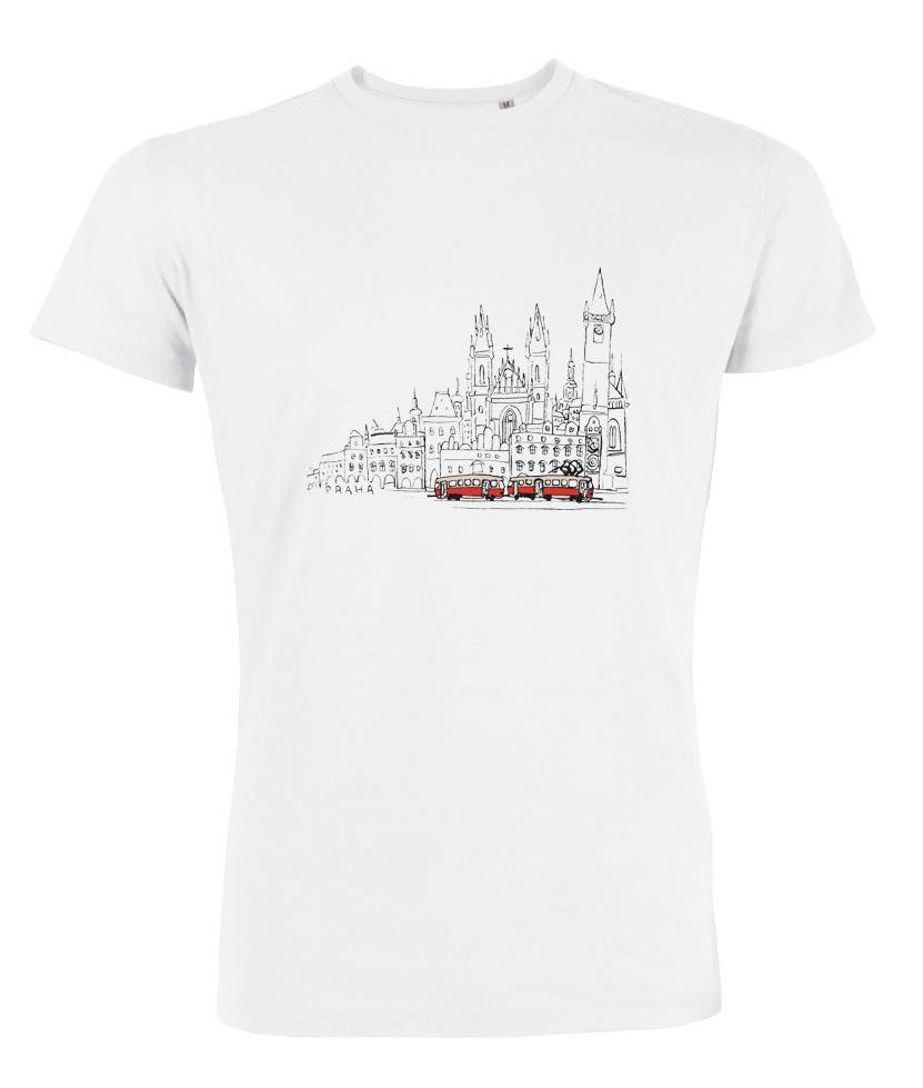 Bílé pánské triko s kreslenou tramvají T3 a Staroměstským náměstím