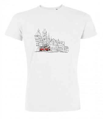 Bílé pánské triko s kreslenou tramvají T3 a Malou Stranou
