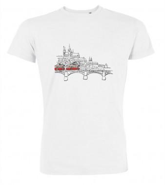 Bílé pánské triko s kreslenou tramvají T3 a Hradčany