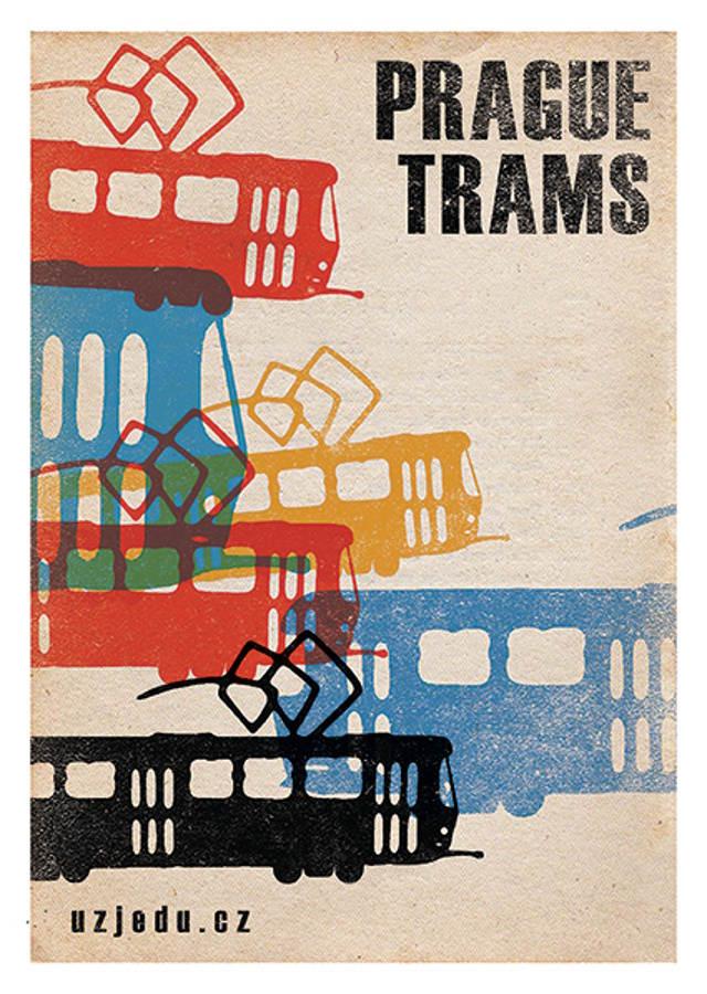 """Pohlednice """"Prague trams"""""""