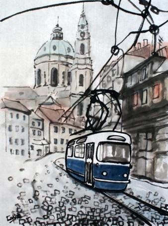 Pohlednice s kreslenou tramvají T3 Coupé