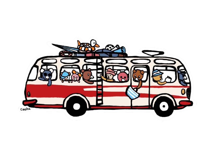 Pohlednice s autobusem RTO se zvířátky
