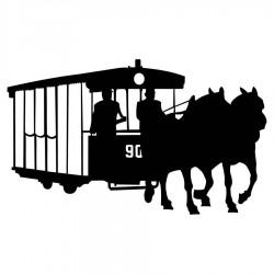 Samolepka s koněspřežnou tramvají 3D