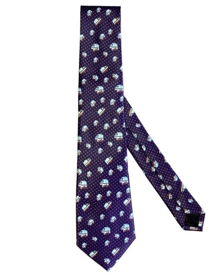 Modrá kravata s motivem autobusů Karosa