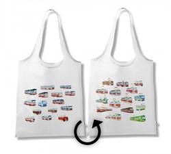Skládací taška s obrázky tramvají a autobusů