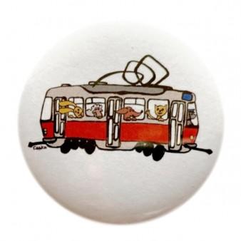 Kulatá magnetka s tramvají se zvířátky