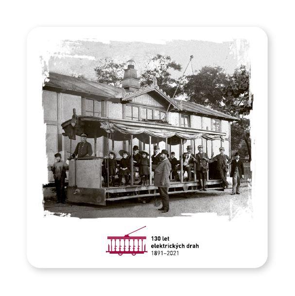 """Pivní podtácek """"Křižíkova tramvaj"""" (130 let elektrických drah 1891–2021)"""