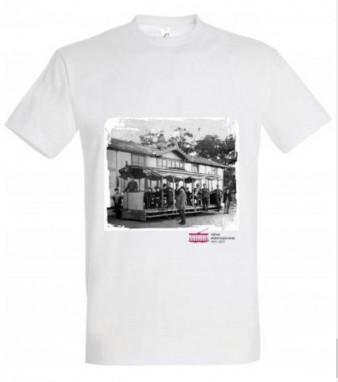 """Bílé triko """"Křižíkova tramvaj"""" (130 let elektrických drah 1891–2021)"""