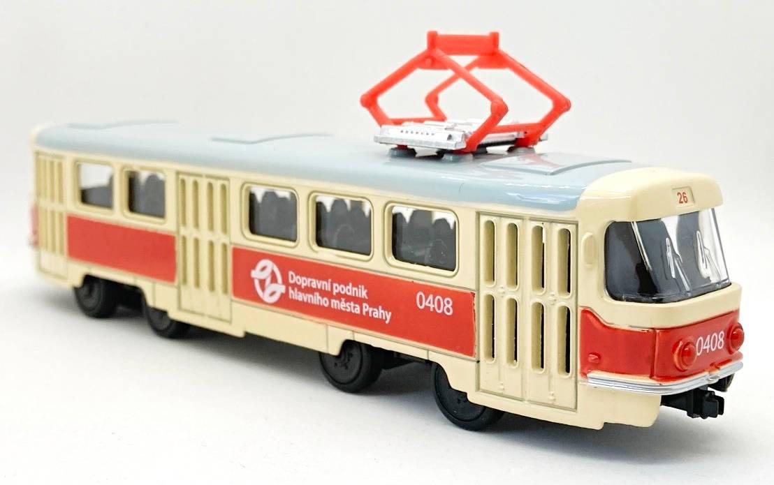 Kovová tramvaj s logem DPP