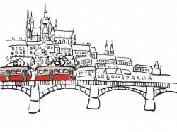 Plakát s motivem tramvaje pod Hradčany