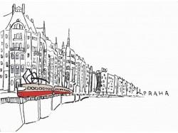 Plakát s motivem tramvaje na Masarykově nábřeží