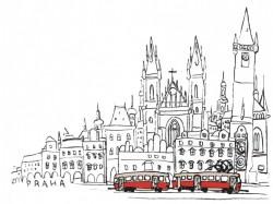 Plakát s motivem tramvaje na Staroměstském náměstí
