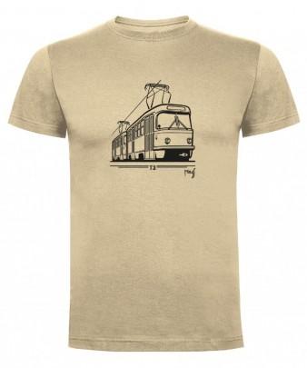 Béžové triko s grafikou tramvaje ČKD Tatra T3